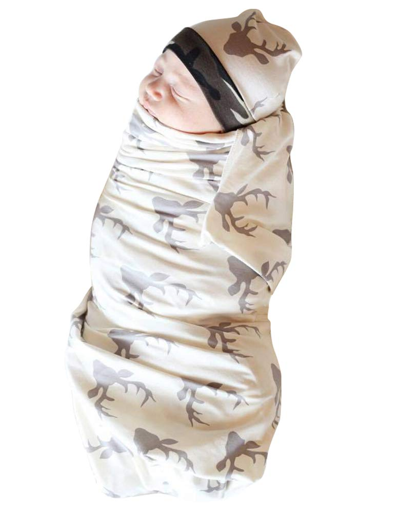 Newborn Girl Boy Xmas Deer Sleeping Blanket with Hat Cap Infant Coming Home Outfit Gift Safe Sleeping Bag for Baby 0-3M