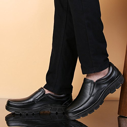 Soft Men's Minishion Comfortable Toe Slip Round Shoes on Black Walking q4xpnvHn