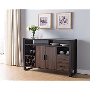 161640 Smart Home Dark Walnut U0026 Black Wine Rack Sideboard Buffet Table