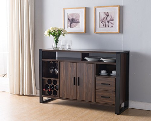 Smart home 161640 Dark Walnut & Black Wine Rack Sideboard Buffet Table