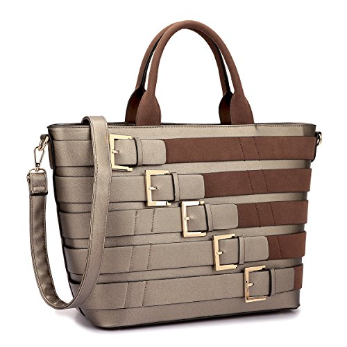 MKY Extra Large Tote Bag Designer Shoulder Handbag Buckle Details w/Removable Shoulder Strap Bronze