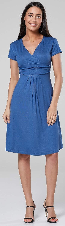 Happy Mama Damen Mutterschaft Gemustert Empire-Taille Kleid V-Ausschnitt 1043