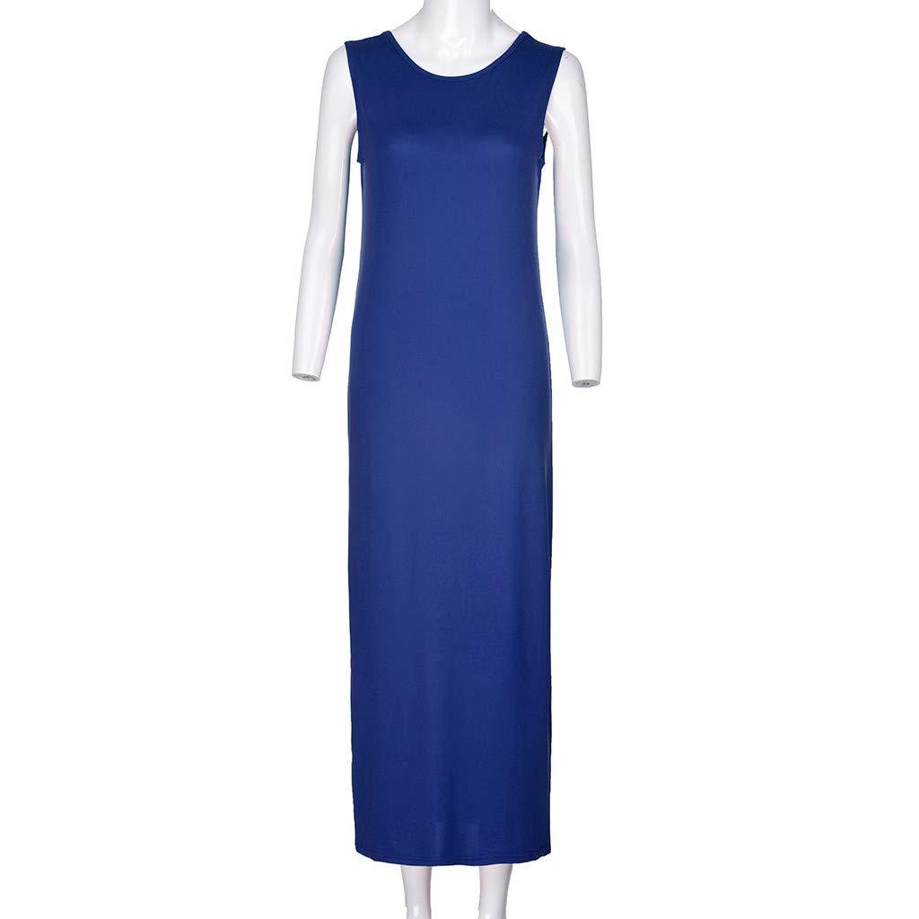 Twinsmall Maternity Dress, Women's Ruched Boho Sleeveless Maternity Pregnant Dress (M, Blue) by Twinsmall (Image #3)