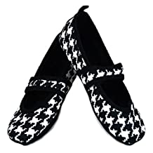 Nufoot Betsy Lou Women's Shoes, Best Foldable & Flexible Flats, Indoor Slippers, Black with White Hounds Tooth, Medium