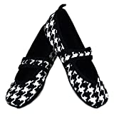 Nufoot Betsy Lou Women's Shoes, Best Foldable & Flexible Flats, Travel & Exercise Shoes, Dance Shoes, Yoga Socks, Indoor Shoes, Slippers, Black with White Hounds Tooth, Small