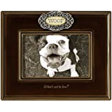 "Grasslands Road Everything's Relative Mahogany Brown Ceramic Glaze ""Woof"" Dog Frame, Holds a 4 by 6-Inch Photo"