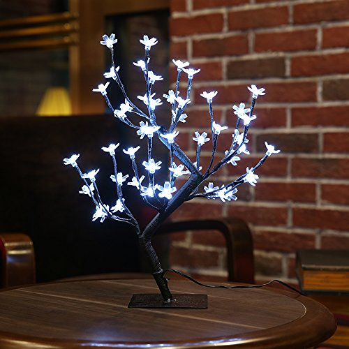Zanflare 0.45M/17.72Inch 48LEDs Cherry Blossom Desk Top Bonsai Tree Light, Black Branches, Perfect for Home Festival Party Wedding Christmas Indoor Outdoor Decoration (Cool White) (Table Lamp Flower)