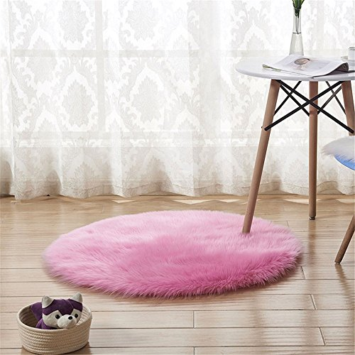 CHITONE Round Area Rugs for Kids Room Carpets Children Play Super Soft Living Room Bedroom Home Faux Fur Sheepskin Rug Shaggy Rug,8 Feet,Pink
