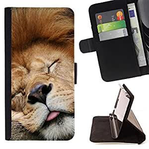 DEVIL CASE - FOR Samsung Galaxy Core Prime - Funny Sleeping Lion Tired Sleepy Cute - Style PU Leather Case Wallet Flip Stand Flap Closure Cover