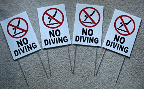 4-pc-expert-popular-no-diving-symbol-yard-sign-board-decal-plastic-message-swiming-declare-size-8-x-