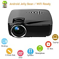 Android WiFi LED Projector,Portable Multimedia 1200 Lumens Home Theater Cinema PS Xbox Game Mini…