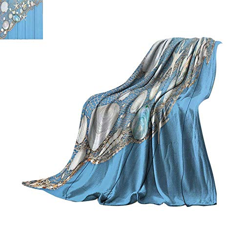 tweight Blanket Tropical,Seashells on a Fishing Net Wooden Blue Background Pearls Scallop Starfish Aquatic,Blue White Blanket for Sofa Couch Bed Bed or Couch 60