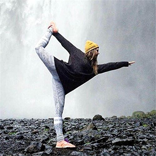 Pantalon de Yoga femmes,Jimma Femmes Yoga Leggings pantalon rayé d'entraînement Gym Fitness sport pantalon