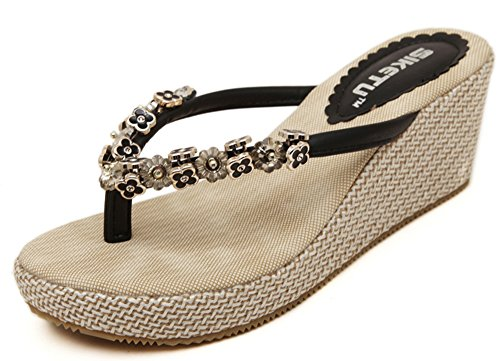 Mule Thong Mid Women's Aisun Sandals Graceful Black Heels Wedge Pnfwx