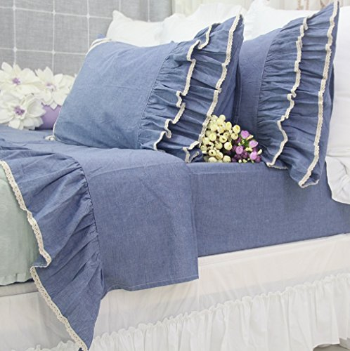 Queen's House Vintage Blue Lace Bed Sheet Sets Queen Size