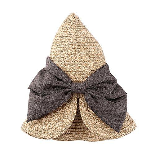 EINSKEY Womens Straw Sun Hat Bowknot Wide Brim Bucket Hat with Neck Cord for Summer Beach Fishing (Dark Beige) by EINSKEY (Image #3)