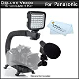 Deluxe LED Video Light + Mini Zoom Shotgun Microphone w/Mount + Video Stabilizer Kit For Panasonic HDC-HS900, HDC-SD90, HDC-TM90, HDC-TM900, HC-X900M, HC-X900, HC-X800, HC-X920, HC-V720 HD Camcorder Includes Stabilizing Handle + Microphone + LED Light Kit