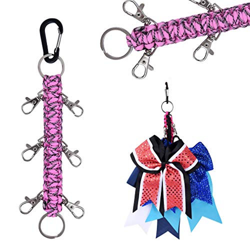 DEEKA Paracord Handmade Cheer Bows Holder for Cheerleading Teen Girls High School College Sports - Bright Pink Black Camo ()