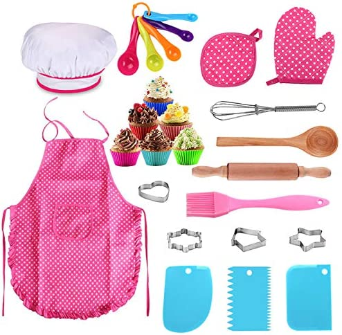25Pcs Chef Set for Kids, Kitchen Cooking and Baking Kits, Dress Up Role Play Toys, Apron, Chef Hat, Oven Mitt, Wooden Spoon, Cookie Cutters, Silicone Cupcake Moulds for Little Girls Gift – Pink