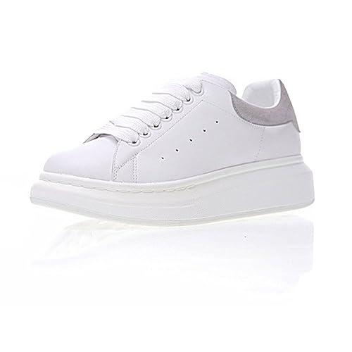 Donna Pelle Bianco Sneakers Casual Scarpe - Sportive Fitness Running  Outdoor Scarpe da Ginnastica Corsa - Interior Casual all'Aperto Basket  Grigio