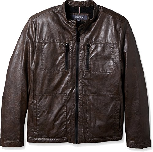 Kenneth Cole New York Mens Distressed Leather Jacket with Faux Sherpa Lining