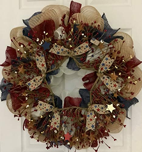Patriotic Americana Pip Twig Berry Wreath Handmade Deco Mesh from What A Mesh by Diana