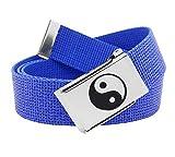 Women's Yin Yang Silver Flip Top Belt Buckle with Canvas Belt XX-Large Glitter Blue