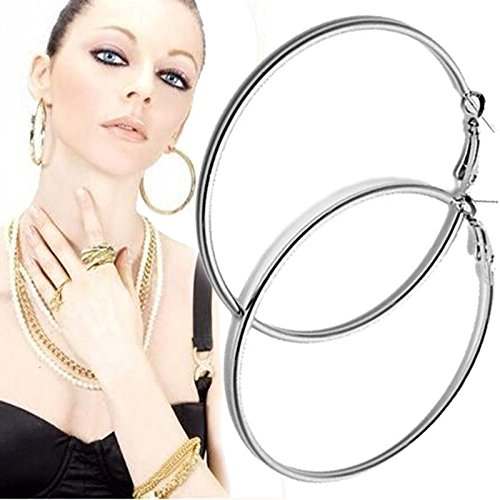 Gbell Women Large Smooth Hoop Earrings Jewelry - Fashion Silver Circle Round Charm Clip On Earrings for Ladies,1Pair 1.96