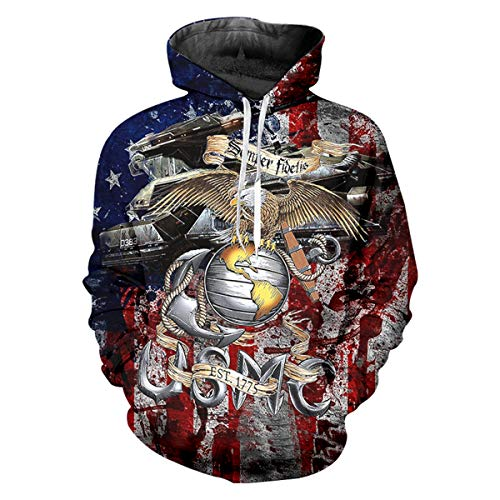 pinata American Flag USMC Unisex 3D Pattern Cool Drawstring Hoodie Sweatshirts Pockets (Sweatshirt Hood Usmc Pullover)