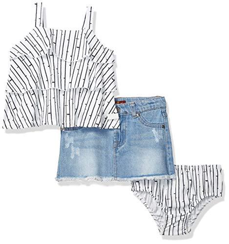 (7 For All Mankind Kids Girls' Toddler Sleeveless Ruffle Tier Top and Denim Skirt, Navy Birch Print/Medium Wash 2T)