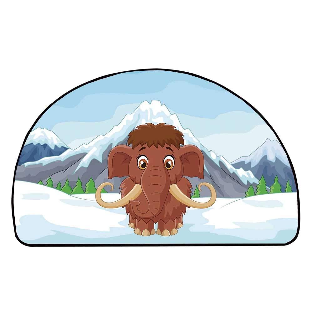 C COABALLA Cartoon Comfortable Semicircle Mat,Baby Mammoth in Ice Snowy Mountain Winter Cheerful Animal Prehistoric Design Decorative for Living Room,11.8'' H x 23.6'' L