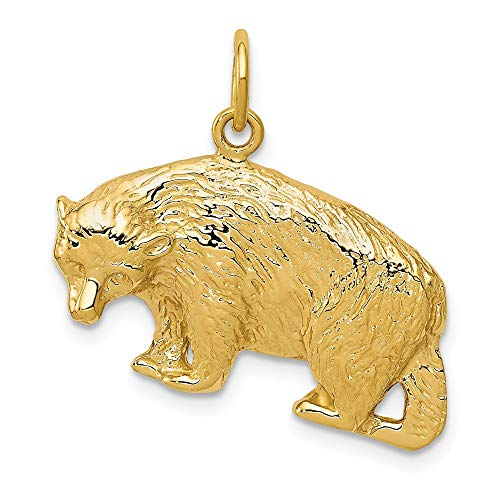 14k Yellow Gold 25mm Polished Textured Bear Pendant ()