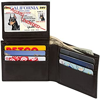 Access Denied Mens RFID Blocking Wallet Bi-Fold Leather (Black) at
