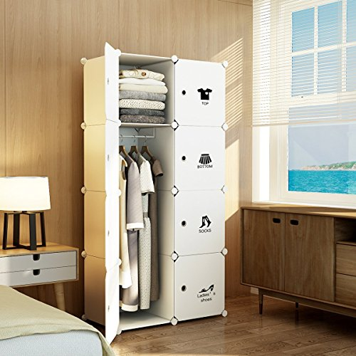 (MAGINELS Wardrobe Clothes Closet Bedroom Armoire Dresser Cube Storage Organizer Portable,30% Deeper Cube White Sticker 5 Cube & 1 Hanging Sections)