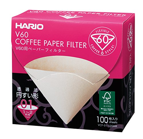 Hario V60 Paper Coffee Filters, Size 1, 100 Count, Brown