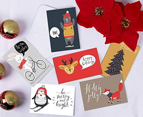 SUPHOUSE Woodland Animals Christmas Cards Boxed Set In 36 Bulk Pack, 6 Assorted Winter Funny Animal Designs for Holiday Greetings, Envelopes and Stickers Included Photo #4