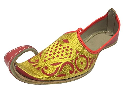 Step n Style Aladdin Men Shoes Khussa Indian Handmade Leather Flip-Flops Khussa Juti Red Gold (Genie Costume Shoes Men)