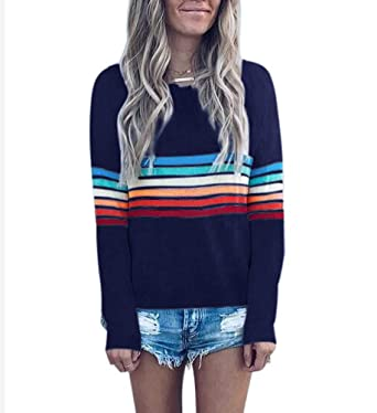 bab1131eda1 Women s Rainbow Stripe Sweater - Fashion Fall Shirt Knitted Pullover Long  Sleeve Tops at Amazon Women s Clothing store