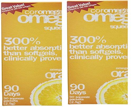 Flavor Coromega Orange - Coromega Omega-3 Supplement, Orange Flavor, Squeeze Packets, 180 Squeeze Packets