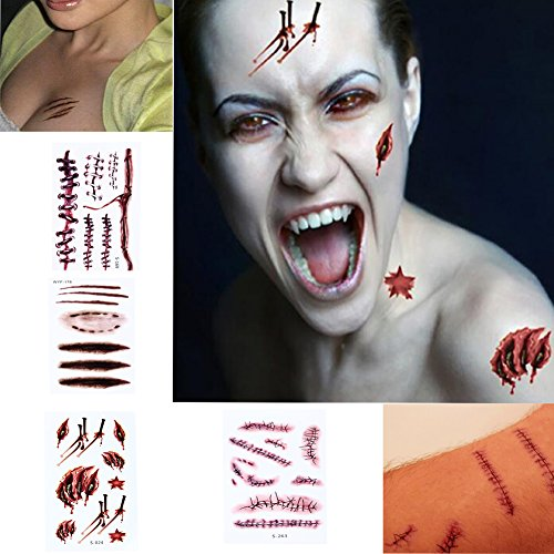 Halloween Scratch Wound Scab Blood Scar Tattoos Temporary Tattoo Sticker Cosplay,Horror Realistic Fake Bloody Wound Stitch Scar Waterproof props(10pcs)