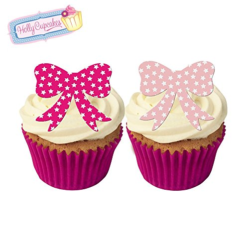 Gorgeous Bow (24 Gorgeous Edible Pre-Cut Wafer Bows: Mixed bright and pastel pink Stars)