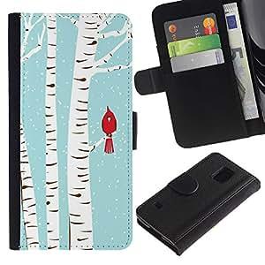 UberTech / Samsung Galaxy S5 V SM-G900 / Birch Bird Blue White Drawing Snow / Cuero PU Delgado caso Billetera cubierta Shell Armor Funda Case Cover Wallet Credit Card