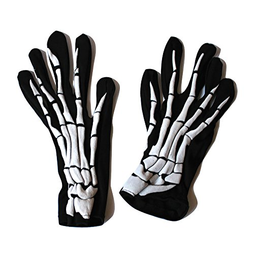 Zero The Ghost Dog Costume (Halloween Black White Skeleton Gloves Skull Fancy Dress Accessory Ghost Bones for Halloween Dance Party Costume Gloves)