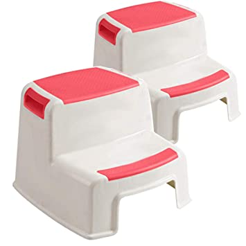Peachy 2 Pack Dual Height Step Stool For Kidsanti Slip Step Toddlers Stool For Potty Training Use In Pabps2019 Chair Design Images Pabps2019Com