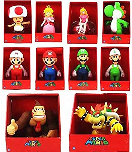 Amazon Com Lingjia Super Mario Toy 10pcs Set Super Mario Bros
