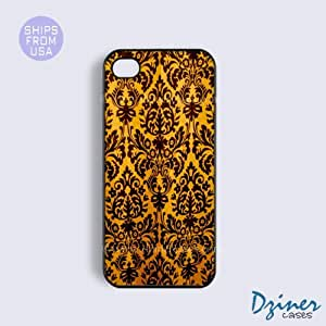 iPhone 5c Case - Gold Black Damask Pattern iPhone Cover