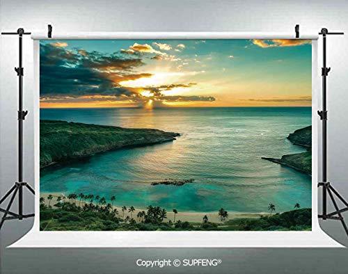 Photo Backdrop Sunrise Over Hanauma Bay on Oahu Hawaii Sunbeams Through Dark Clouds Shoreline 3D Backdrops for Interior Decoration Photo Studio Props -