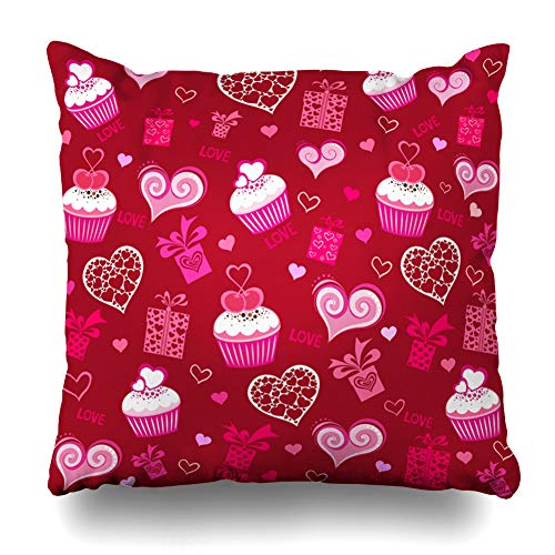 Ahawoso Throw Pillow Covers Curly Pink Bow Valentine Hearts Pattern Holidays Vintage Graphic Red Box Burgundy Cake Cupcake Design Decor Zippered Cushion Case 18