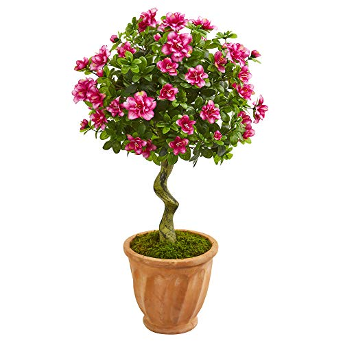 Nearly Natural 9295 39-in. Azalea Artificial Topiary Terra Cotta Planter Silk Trees Pink