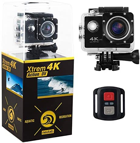 NeuTab Xtrem 4K Action Camera, Dual 2 Inch LCD Screen 16 MP Sony Image Sensor 170 Wide-Angle Lens Sports Camera 100 FT Waterproof Case Included in Accessories Kit Limited time Offer